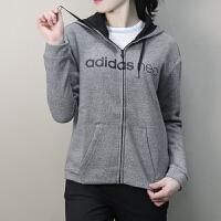 Adidas阿迪达斯 NEO 女子 运动休闲外套 保暖加绒连帽休闲夹克 BQ6999