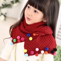 韩国秋冬季儿童保暖韩版女孩毛线围巾宝宝可爱公主围脖男童