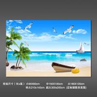 3立体墙贴壁画贴纸壁纸自粘墙纸海滩客厅风景画大自然背景墙贴画