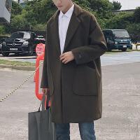 新款呢子大衣男中长款韩版宽松加厚呢子大衣冬季毛呢外套潮男 绿 M
