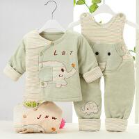 吉妮娃 男女宝宝婴儿新生儿纯棉衣服秋冬加厚背带家居服睡衣保暖内衣套装
