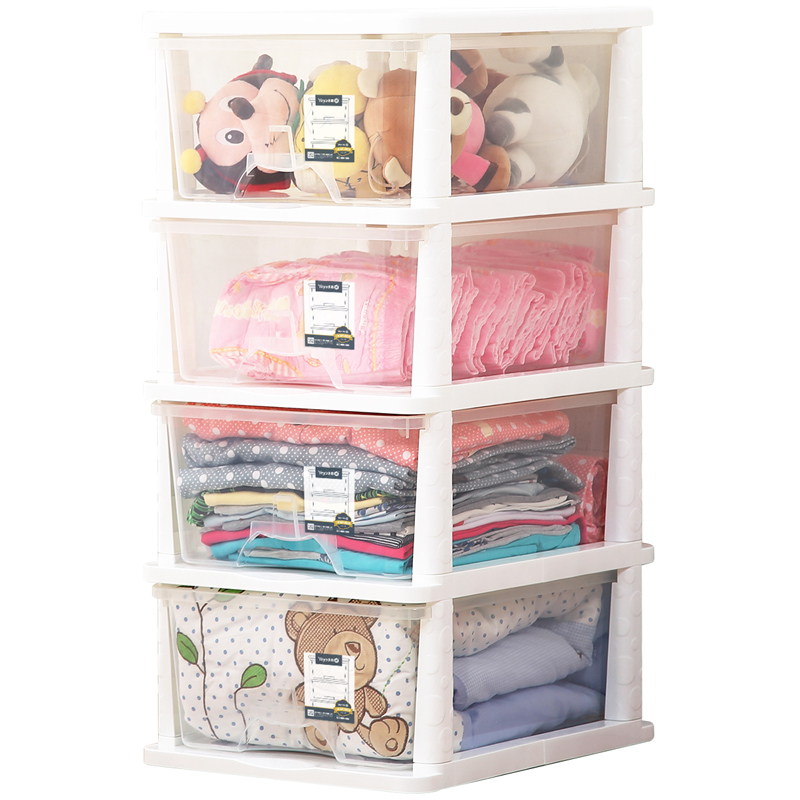 Yeya也雅日式简约四层透明塑料抽屉式收纳柜 衣物零食杂物储物整理柜