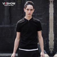 viishow夏装新款短袖polo 欧美复古时尚保罗衫男 黑色修身潮