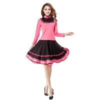 广场舞套装上衣拼接长袖下衣裙子跳舞服练习服上衣短袖套装跳舞服装
