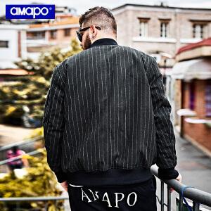 【限时抢购到手价:205元】AMAPO潮牌大码男装冬季胖子肥佬加肥加大码宽松棉衣嘻哈外套男潮