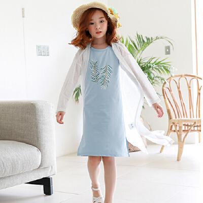 女童开衫外套中长款夏装薄款中大童白色防晒衣透气儿童空调衫