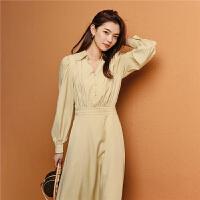 七格格长袖连衣裙春装2020款新品中长款韩版宽松复古气质裙子女潮