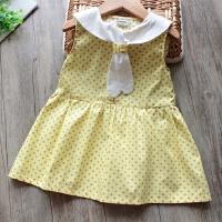 女童连衣裙夏季新款女宝宝领结卡通刺绣无袖背心裙公主裙衫