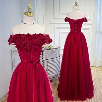 一字肩礼服长款红色敬酒服2017秋冬新款新娘抹胸晚装结婚纱礼服女