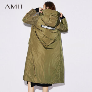 Amii[极简主义]90白鸭绒羽绒服女2017冬季新连帽拼接印花织带外套