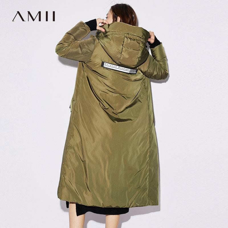 【跨店满299减100上不封顶】Amii极简韩版90白鸭绒羽绒服女2018冬季新款连帽拼接印花加厚外套.