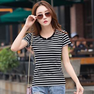 夏季新款韩范黑白条纹短袖t恤女半袖小v领打底衫女装T恤衫