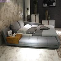 布艺床榻榻米床现代简约大小户型1.8米双人床主卧软床婚床可拆洗 乳胶床垫