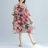 夏季民族风加肥加大中老年女装妈妈海边度假沙滩裙旅游雪纺连衣裙
