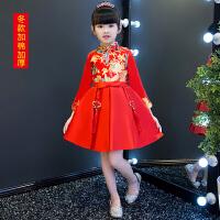 中式女童旗袍冬季儿童唐装红色中国风宝宝生日礼服公主裙长袖加厚