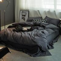 家纺水洗棉灰色格子床单四件套全棉纯棉日系4三件套床上用品被单被套