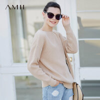 Amii极简休闲慵懒风套头毛衣女一字领2018冬新款纯色针织宽松上衣