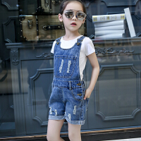 童装夏季女童背带裤6岁儿童牛仔裤小女孩短裤中大童吊带裤