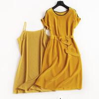 欧洲站经典圆领真丝连衣裙珍珠装饰收褶扣环腰带中裙两件套6962