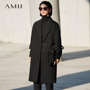 Amii[极简主义]轻奢 羊毛毛呢外套女 冬季新翻领拼接皮带宽松大衣