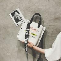手提包包女2018新款潮撞色大容量复古托特包宽肩带百搭斜挎包
