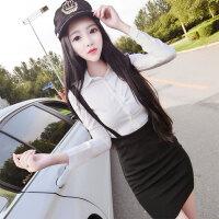 秋冬季两件套新款衬衫加裙子套装韩版修身显瘦包臀背带连衣裙