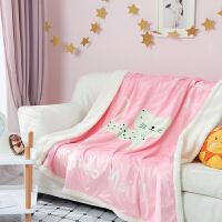 羊羔绒毛毯保暖法莱绒午睡毯双面绒水晶绒盖毯珊瑚绒儿童卡通被