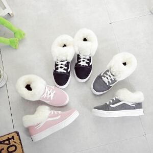 运动鞋加厚保暖生系带女鞋厚底棉鞋秋冬季加绒毛毛帆布鞋女韩版学生鞋