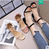 百搭仙女鞋明星同款露趾一字扣带罗马女士凉鞋女粗跟高跟鞋