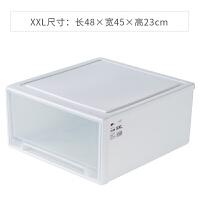 家用抽屉式收纳箱衣柜内衣服收纳盒衣物储物箱塑料透明整理箱大号 单个装