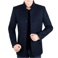 夹克男中年男士外套冬季中老年男装爸爸装秋冬装外套新款 藏蓝 0/88A