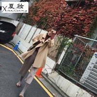 夏妆冬季新款韩版chic大衣女冬呢子双面毛呢外套女中长款修身加厚