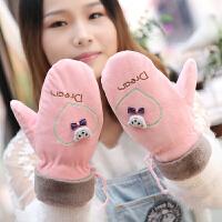 手套女冬季可爱韩版卡通挂脖学生毛绒包指棉加厚骑车手套加绒保暖