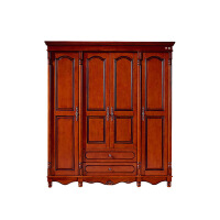 美式实木衣柜 4门拉门衣柜复古美式乡村 橡胶木木质复古卧室家具 富贵红 1900*630*2150mm