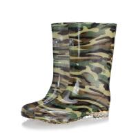 中高筒迷彩雨鞋男雨靴套鞋耐酸碱水靴牛筋底劳保胶靴