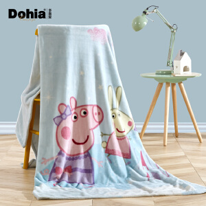 多喜爱新品冬季毛毯卡通单双人保暖毯小猪佩奇之梦幻童话法兰绒毯