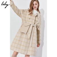【3件2折 到手�r500】Lily格子羊毛�p面呢腰包系�щp排扣毛呢外套女1950