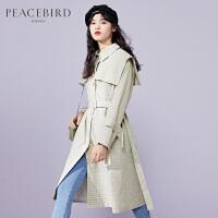 太平鸟格子风衣女中长款2020春季新款收腰法式复古大翻领外套气质