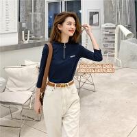 七格格t恤女2020新款春装韩版宽松显瘦打底衫字母短款五分袖上衣