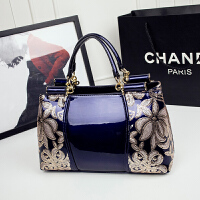 新款女包时尚手提包包亮皮单肩包品牌斜挎包中年女士妈妈大包g 蓝色小号