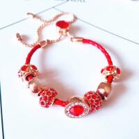 饰品1990手链多拉红牛皮绳红绳手链网红同款转运珠 红色 现货
