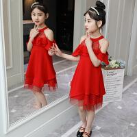 女童连衣裙新款韩版中大童纱裙时尚露肩公主裙洋气裙子潮