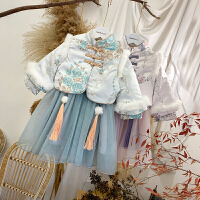 女宝宝旗袍冬装女童新款复古中国风唐装两件套中式礼服裙套装