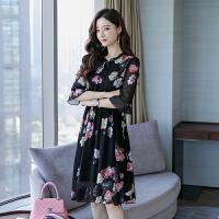 香衣宠儿 真丝连衣裙 2018夏季新品韩版显瘦印花短袖桑蚕丝裙子 2110-30