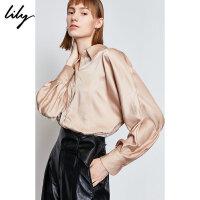 【限时一口价349元】全场叠加100元券 Lily2019冬新款女装洋气咖金小直身心机解构式气质长袖衬衫4929