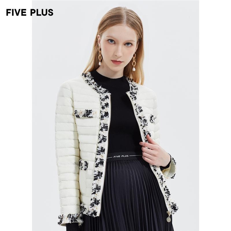 FIVE PLUS2019新款女冬装小香风羽绒服女轻型薄款短外套长袖镶边 小香风轻薄羽绒服