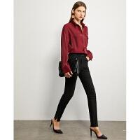 Amii极简时尚可外穿打底裤女2021春季新款高腰撞色薄款黑色紧身裤