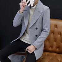 男士风衣新款冬季韩版修身中长款毛呢大衣潮流帅气呢子外套男 灰色 M