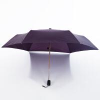 186克轻泼水全自动晴雨伞男女两用日本三折叠便携铅笔伞 深紫色 自动186克