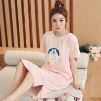 闺蜜睡裙女士夏季韩版清新学生睡衣短袖可爱叮当猫宽松家居服 粉红色 TFN602#叮当猫